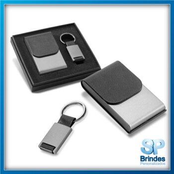 Kit porta Cartões e Chaveiro Metal